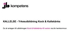 Antagen till kockutbildning i Stockholm